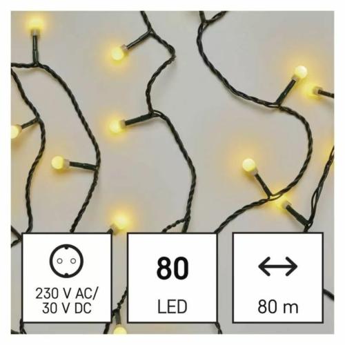 EMOS LED karácsonyi fényfüzér, cseresznye golyók, 8 m meleg fehér, időzító, IP44