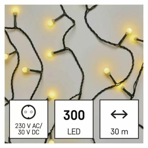 EMOS LED karácsonyi fényfüzér, cseresznye golyók, 30 m meleg fehér, időzító, IP44