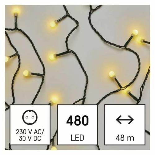 EMOS LED karácsonyi fényfüzér, cseresznye golyók, 48 m meleg fehér, időzító, IP44