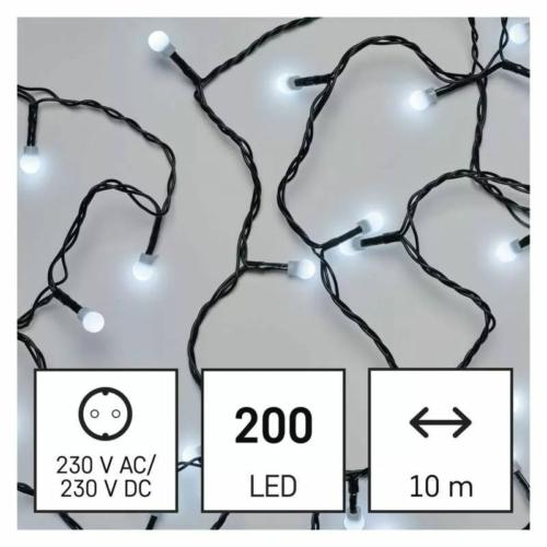 EMOS LED karácsonyi fényfüzér, cseresznye golyók, 10 m, beltéri, hideg fehér