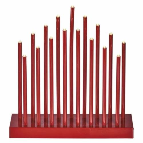 EMOS LED gyertyatartó, piros, 28,5 cm, 3x AA, beltéri, meleg fehér, időzítő
