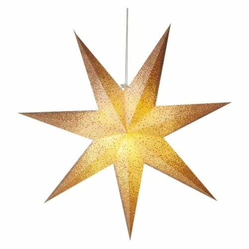 EMOS LED papírcsillag E14, függeszthető, arany csillámporos a szélein, 60 cm
