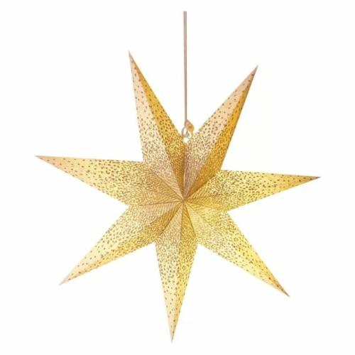 EMOS LED papírcsillag E14, függeszthető, arany csillámporos középen, 60 cm