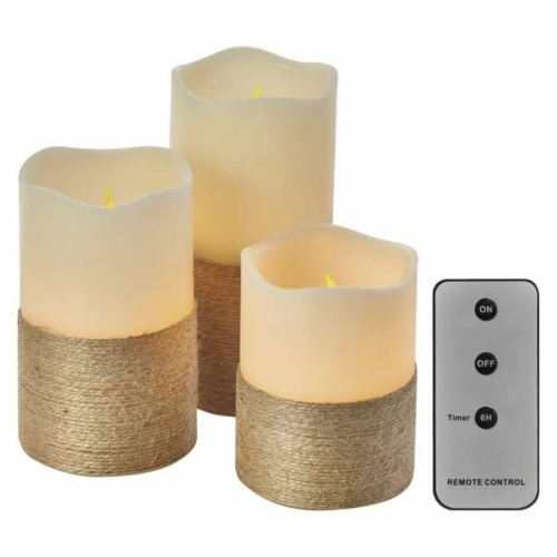 EMOS LED dekoráció 3 db viaszgyertya zsinórral, 3x3 AAA, beltéri, vintage, távirányító