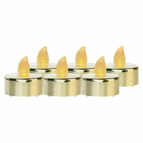 EMOS LED dekoráció 6x teamécses, arany, 6x CR2032, beltéri, vintage