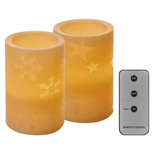 EMOS LED dekoráció 2 db viasz gyertya, 12.5 cm, 2× AA, távirányító, időzítő