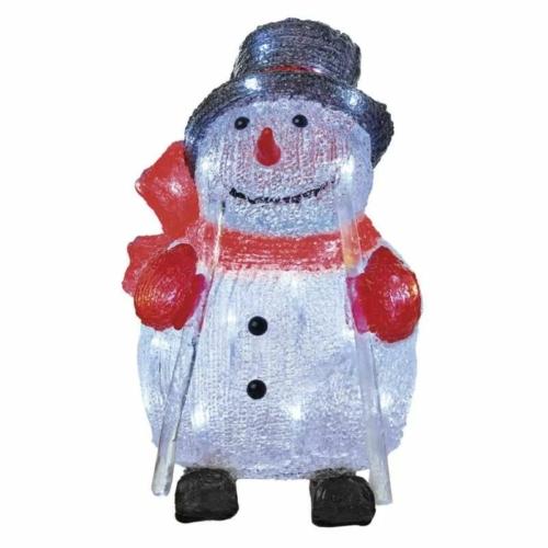 EMOS LED karácsonyi hóember, 28 cm, kültéri és beltéri, hideg fehér, időzítő, IP44