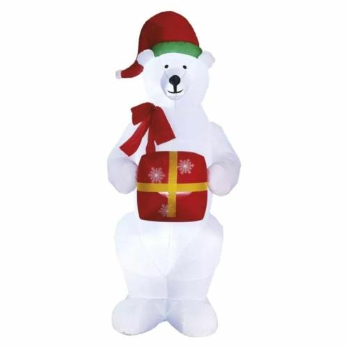 EMOS LED jegesmedve karácsonyi ajándékkal, felfújható, 240 cm, hideg fehér, IP44