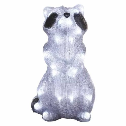 EMOS LED dekoráció világító mosómedve, 39 cm, hideg fehér, időzítő, IP44