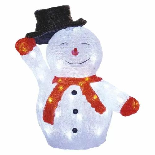 EMOS LED karácsonyi hóember kalappal, 36 cm, hideg fehér, időzítő, IP44