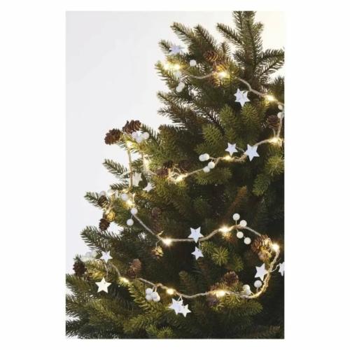 EMOS LED karácsonyi fényfüzér tobozok, 1.7 cm, 2x AA, beltéri, meleg fehér