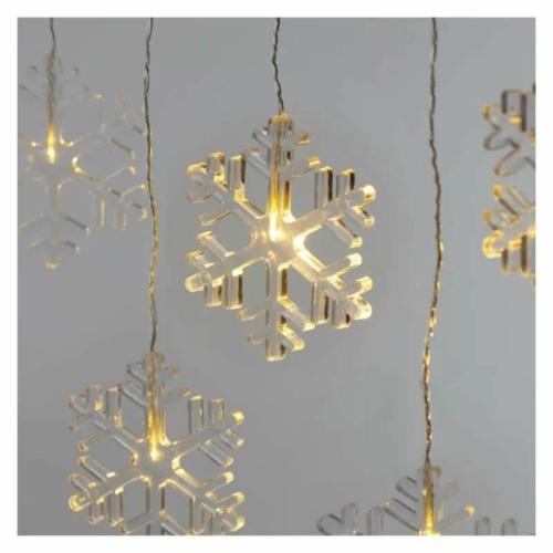 EMOS LED karácsonyi fényfüggöny hópelyhek, 84 cm, meleg fehér, IP44