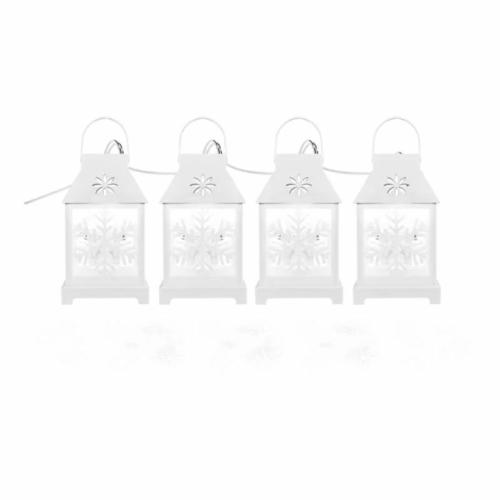 EMOS LED karácsonyi girland fehér lámpák hópelyhekkel, hideg fehér, IP44