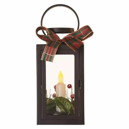 EMOS LED dekoráció karácsonyi lámpa gyertyával, fekete, 22 cm, 3x AAA, beltéri, vintage