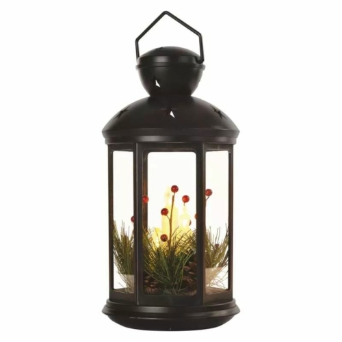 EMOS LED dekoráció karácsonyi lámpa gyertyákkal, fekete, 35,5 cm, 3x AAA, beltéri, vintage