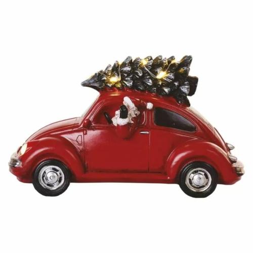 EMOS LED piros autó Télapóval, 12.5 cm, 3x AA, beltérre, meleg fehér