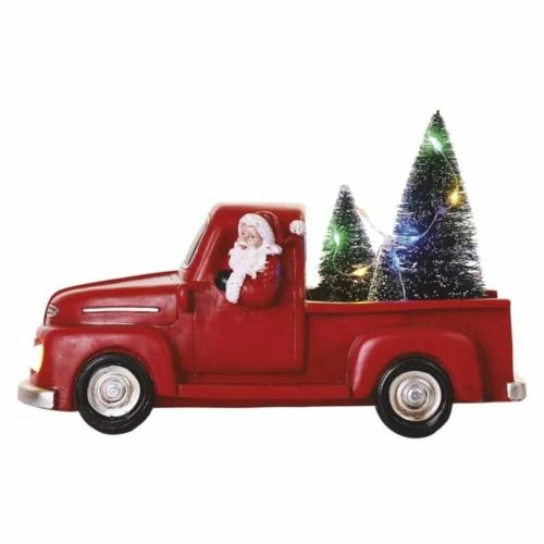 EMOS LED dekoráció Télapó autóban karácsonyfákkal, 10 cm, 3x AA, beltéri, többszínű