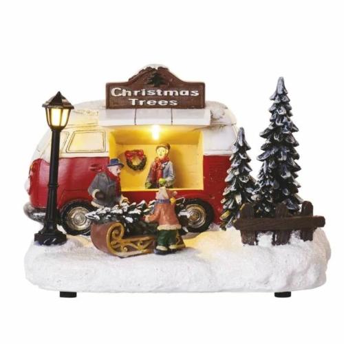 EMOS LED karácsonyi autó, 13.7 cm, 3x AA, beltérre, meleg fehér