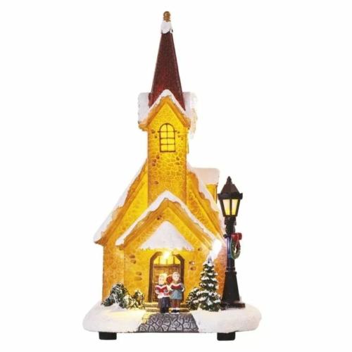 EMOS LED karácsonyi havas templom, 26 cm, 3x AA, beltérre, meleg fehér