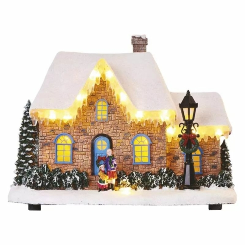 EMOS LED karácsonyi házikó, 20.5 cm, 3x AA, beltérre, meleg fehér