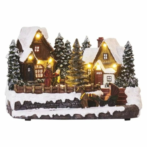 EMOS LED karácsonyi falu, 15 cm, 3x AA, beltérre, meleg fehér