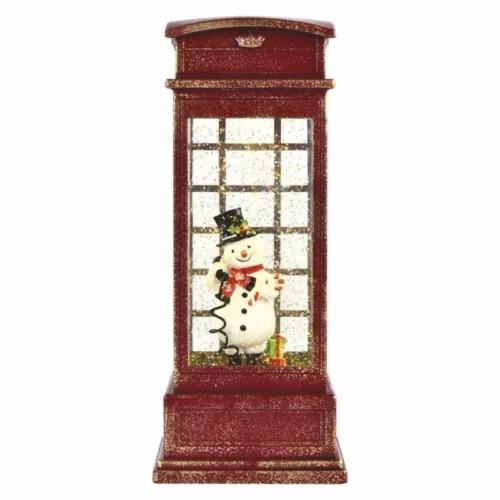 EMOS LED dekoráció hóember telefonfülkében, 25 cm, 3x AA, beltéri, meleg fehér, időzítő
