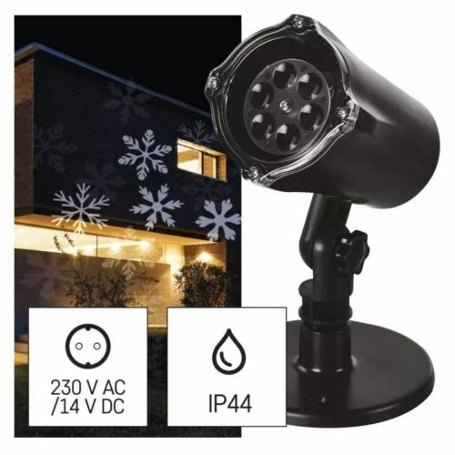 EMOS LED karácsonyi dekoráció projektor hópelyhek, kültéri és beltéri, fehér, IP44