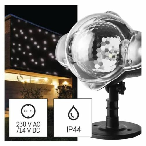EMOS LED dekoráció projektor hulló hópelyhek, kültéri és beltéri, fehér, IP44