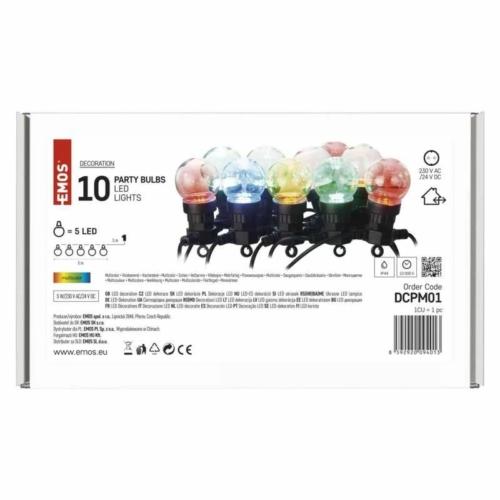 EMOS LED fényfüzér, 10 db party égő, 5 m, kültéri és beltéri, többszínű