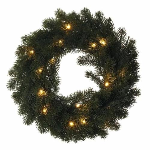 EMOS LED karácsonyi koszorú, 40 cm, 2x AA, beltéri, meleg fehér, időzítő