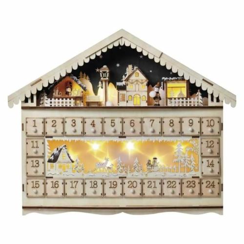 EMOS LED adventi naptár, fa, 40x50 cm, 2x AA, beltéri, meleg fehér, időzítő