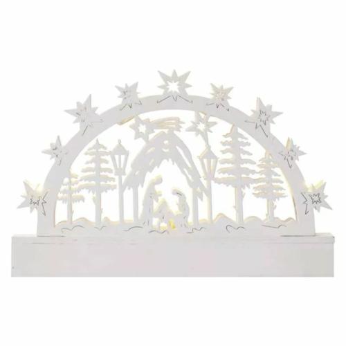 EMOS LED karácsonyi betlehem, fa, 14 cm, 3x AA, beltéri, meleg fehér, időzítő