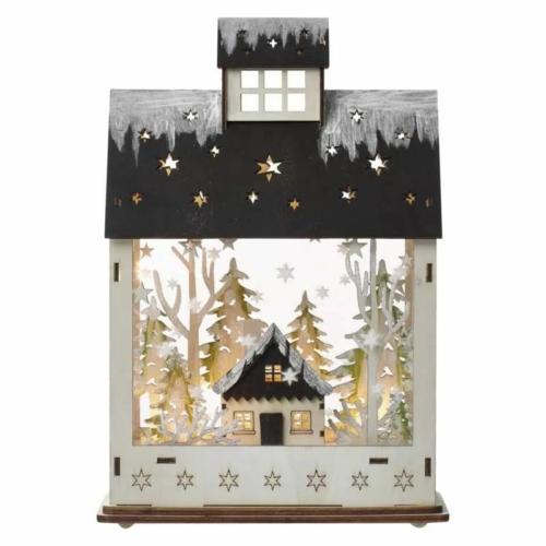 EMOS LED karácsonyi házikó, fa, 30 cm, 2x AA, beltéri, meleg fehér, időzítő