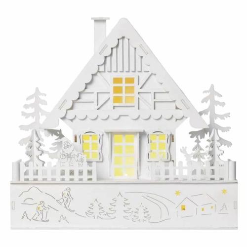 EMOS LED karácsonyi házikó, fa, 28 cm, 2x AAA, beltéri, meleg fehér, időzítő