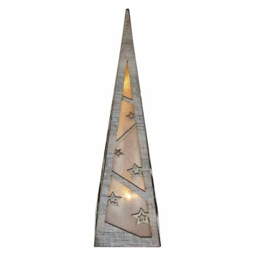 EMOS LED piramis, fa, 36 cm, 2x AA, beltéri, meleg fehér, időzítő