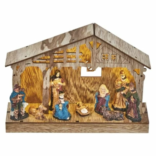 EMOS LED karácsonyi betlehem, fa, 19 cm, 3x AA, beltéri, meleg fehér, időzítő