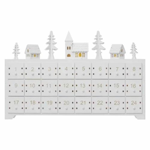 EMOS LED adventi naptár, fa, 23x37 cm, 2x AA, beltéri, meleg fehér, időzítő