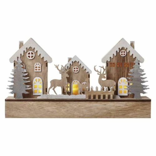 EMOS LED karácsonyi házikók, fa, 17 cm, 2x AA, beltéri, meleg fehér, időzítő
