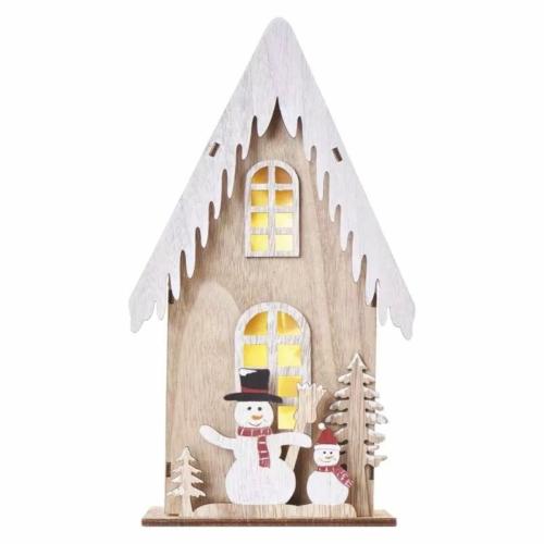 EMOS LED dekoráció, fa házikó hóemberekkel, 28.5 cm, 2x AA, beltéri, meleg fehér, időzítő