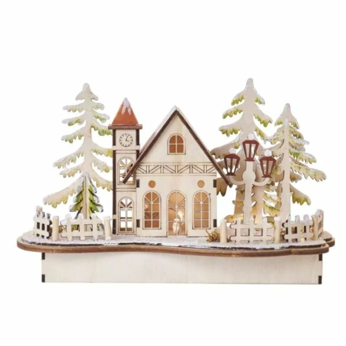 EMOS LED dekoráció, fa behavazott templom, 15 cm, 2x AA, beltéri, meleg fehér, időzítő