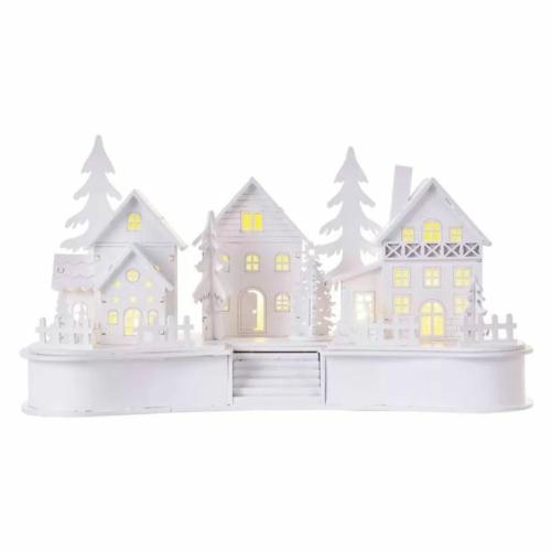 EMOS LED dekoráció, fa, fehér falu, 16 cm, 2x AA, beltéri, meleg fehér, időzítő