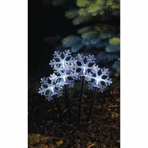 EMOS LED karácsonyi leszúrható hópelyhek, 30 cm, 3x AA, kültéri és beltéri, hideg fehér, időz.