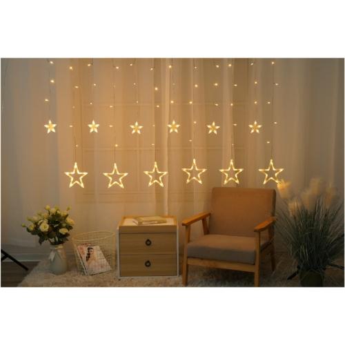 Entac Karácsonyi Függöny IP44 138 LED 12db csillag 8F + időzítő 2x1m IR távirányítóval
