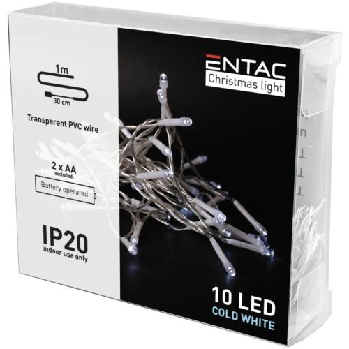 Entac Karácsonyi Beltéri Füzér 10 LED CW 1m (2AA nt.)