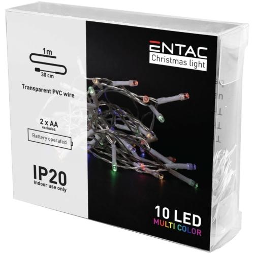 Entac Karácsonyi Beltéri Füzér 10 LED Színes 1m (2AA nt.)