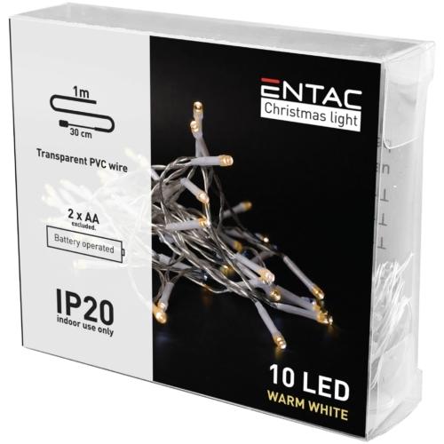 Entac Karácsonyi Beltéri Füzér 10 LED WW 1m (2AA nt.)