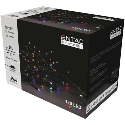 Entac Karácsonyi IP44 120 LED Füzér Színes 9m