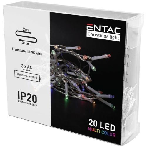 Entac Karácsonyi Beltéri Füzér 20 LED Színes 2m (3AA nt.)
