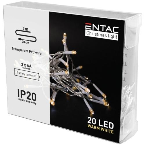 Entac Karácsonyi Beltéri Füzér 20 LED WW 2m (3AA nt.)
