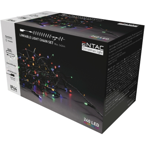 Entac Karácsonyi IP44 240 LED Sorolható Füzér MC 24m szett adapterrel